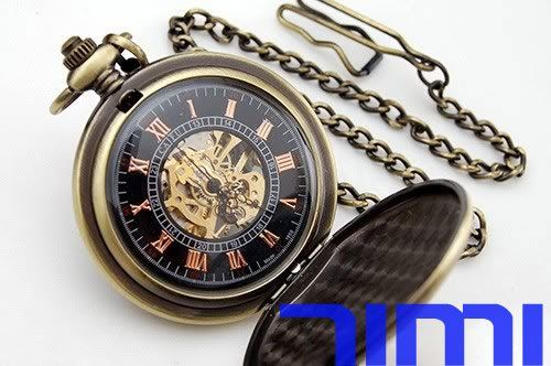 wholesale New Antique Mechanical Pocket Watch Chain Painting freeship