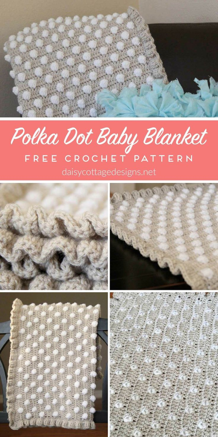 free crochet pattern | crochet blanket pattern | crochet baby blanket | polkadot blanket | Daisy Cottage Designs | Use this free crochet baby blanket pattern to make an adorable baby shower gift. Or, make a larger size and throw it over your couch, chair, or bed. It's a beautiful crochet tutorial with detailed instructions and a video tutorial.