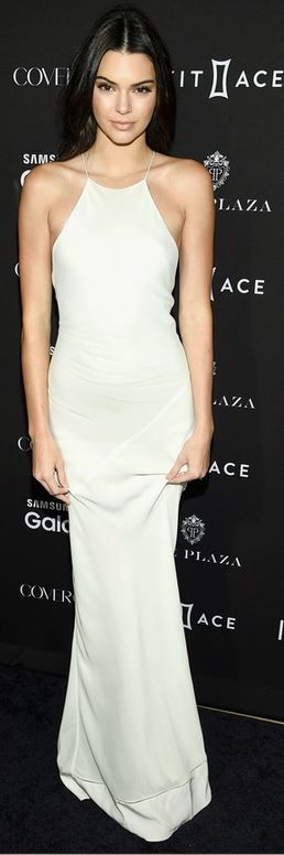Who made Kendall Jenner's white halter gown?
