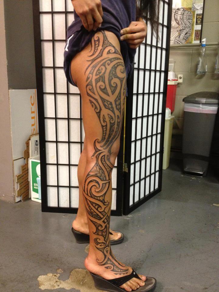 Full polynesian tribal leg polynesian tattoos pinterest for Tribal leg tattoos for females