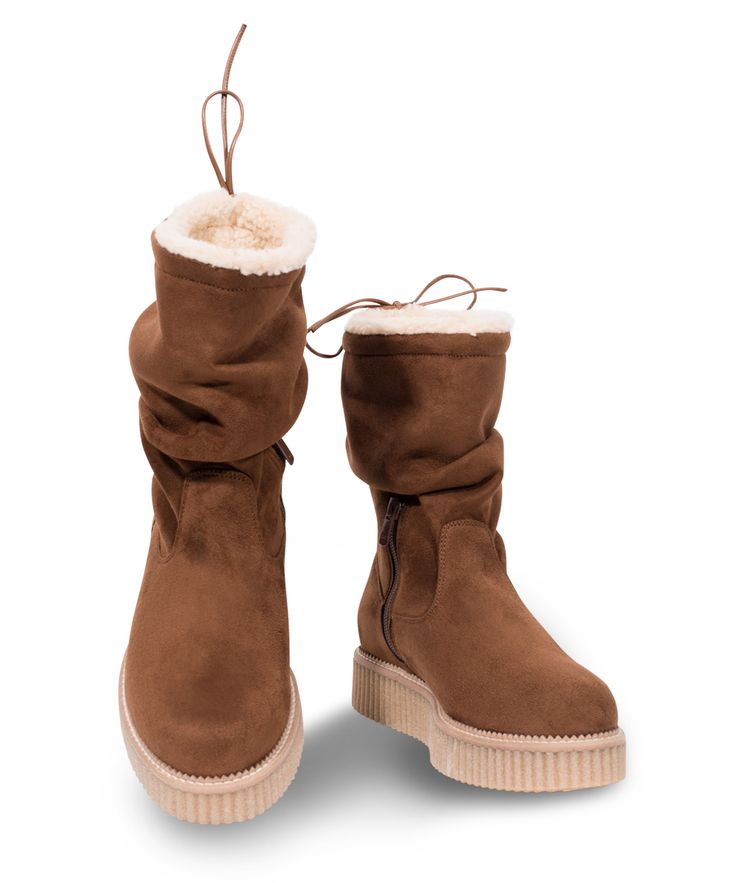GRUMMAN flat bootie to warm your cold feet... Camel