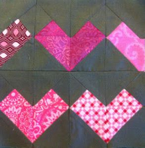 The beautiful Hearts Embers Quilt Block will make an absolutely stunning Valentine's Day or anniversary quilt or table runner.