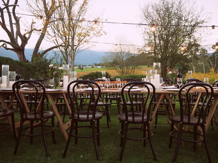 A rustic setting for an outdoor wedding at Bulong Estate.