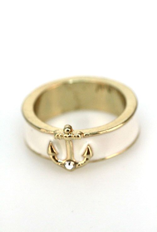 Shipwreck Treasure Anchor Lacquered Ring in Ivory