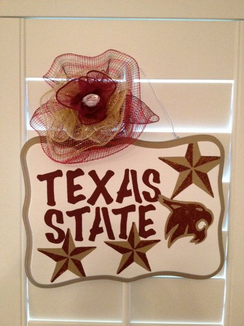 Texas State Bobcats Hand Painted Decorative Wall/Door Hanging Sign on Etsy, $24.00