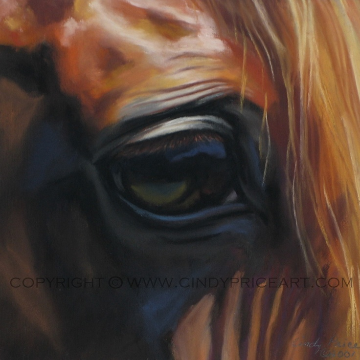 Horse Eye equine art Print of Original pastel painting drawing. Window to the Soul 7