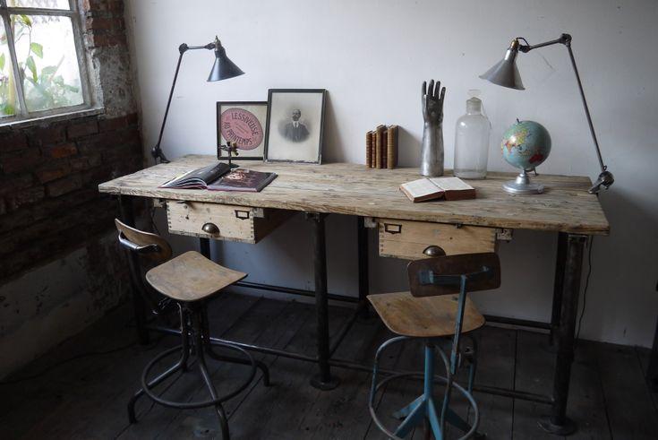 bureau industriel double poste de travail metal et bois - du côté du design: Offices Desks, Design Inspiration, Desks Chairs, Offices Inspiration, Offices Spaces, Work Desks, Travail Metals, Bureau Industriel, You Design