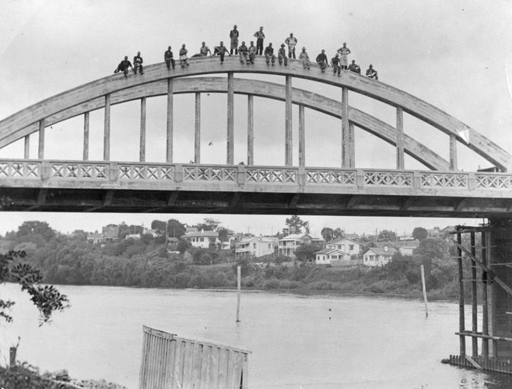 Have a look at this!!! This photo was taken in 1936 and shows members of the construction crew that built the Fairfield Bridge ... I think WorkSafe NZ would be fairly busy inspecting that work site :)