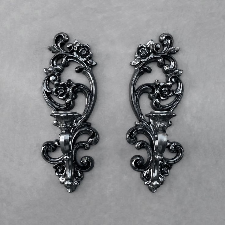 Black Syroco Sconces - Floral - Vintage - Set of Two by TheCherryAttic on Etsy