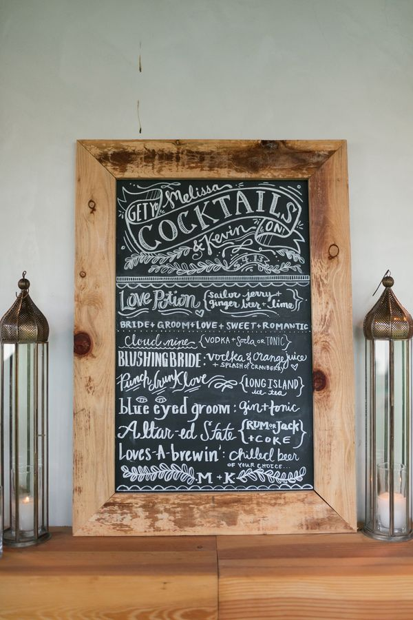 wooden frames around blackboards for signs throughout.