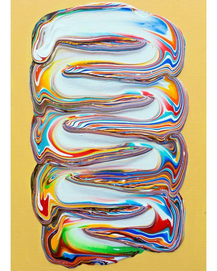 Untitled (On light yellow) - acrylic on linen - 100x70cm - 2016   #dericksmith #dublin #modernart #newwork #contemporarypainting  #contemporaryart #paint #painting #paintings #heroin #fineart #opening #art #colourful #flow #melt #drip #peinture #blend #acrylic #yellow #bowie #jodorowsky