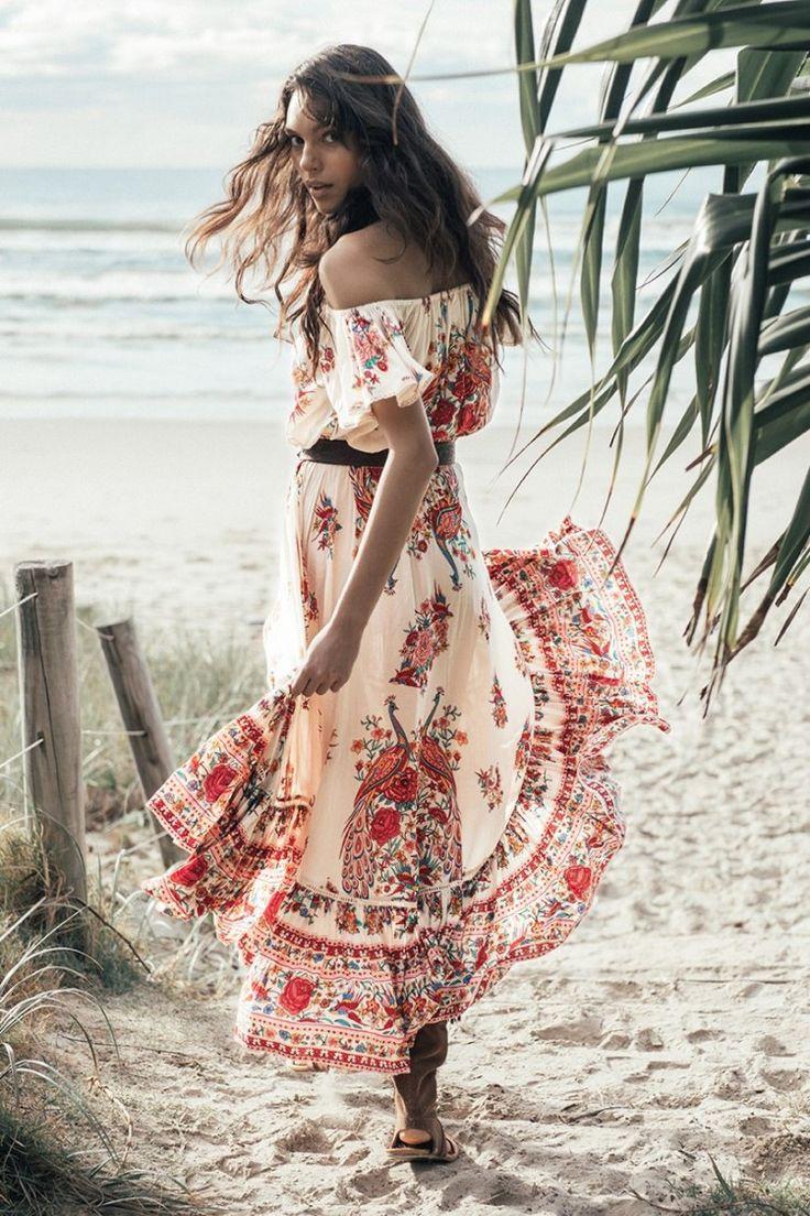 2016 женщин горячий продавать Чешские Пляж Сексуальная ретро платье слэш шеи цветочный печати длинные платья макси плиссированные бродяга праздник платье купить на AliExpress