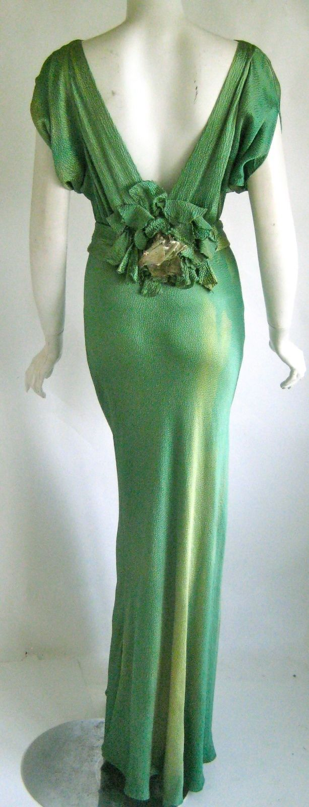vintage 1930s art deco numbered screen star bias cut silk goddess evening gown