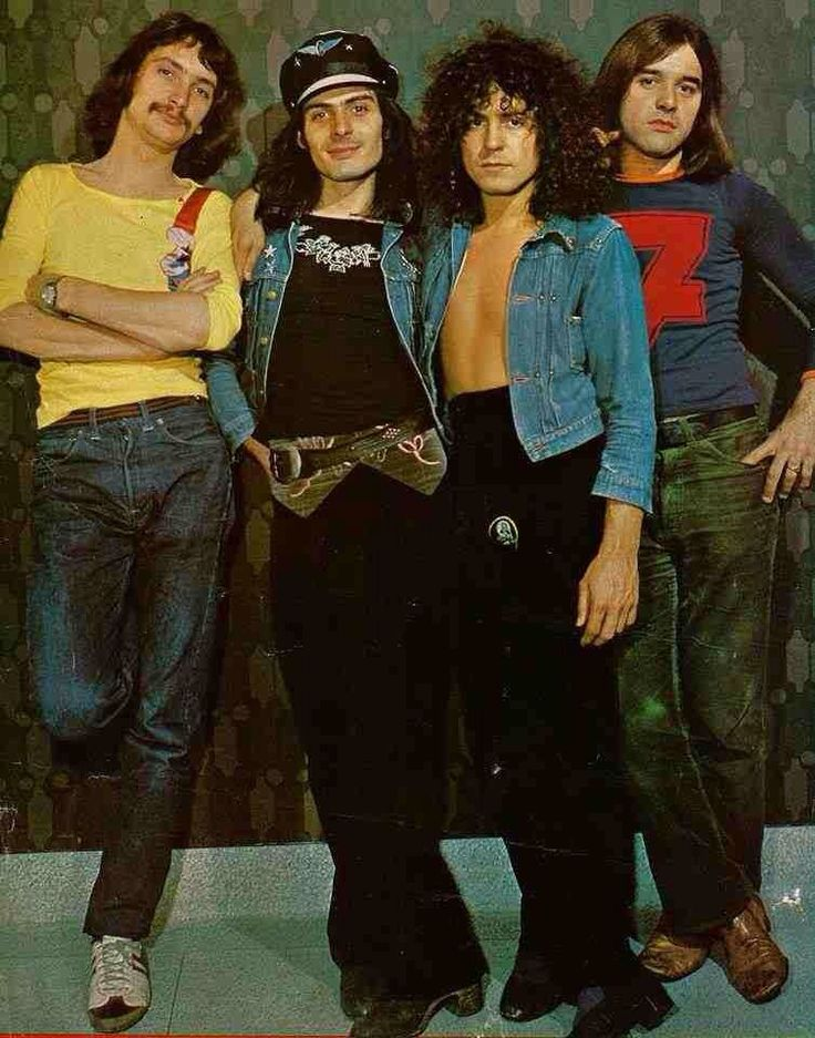 T.REX in 1972. Steve Currie, Mickey Finn, Marc Bolan & Bill Legend. This was the first full band he put together after his days w/ STEVE PEREGRIN GRIN TOOK