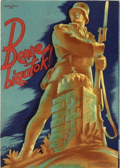 "Hungarian WW2 propaganda poster ""Trust him!""."