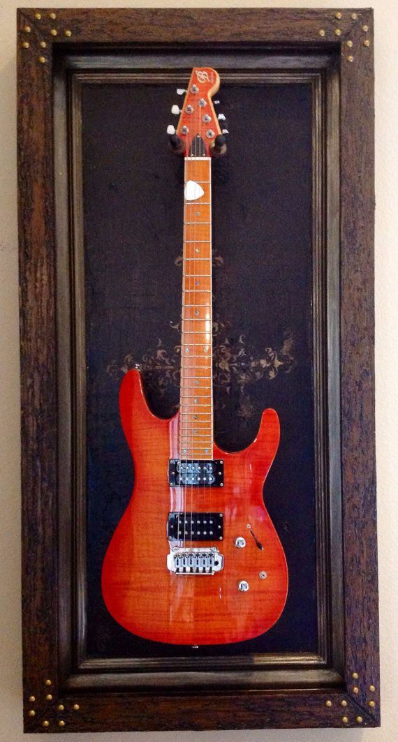 "Guitar Display Case ""Crossroads"" DELUXE - Shadow Box, Guitar wall mount, hanger, frame on Etsy, $300.00"