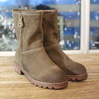 Cuero genuino botas cortas a media pierna de hebilla mujeres botas de otoño invierno zapatos de mujer a caballo de la motocicleta dama botas altas