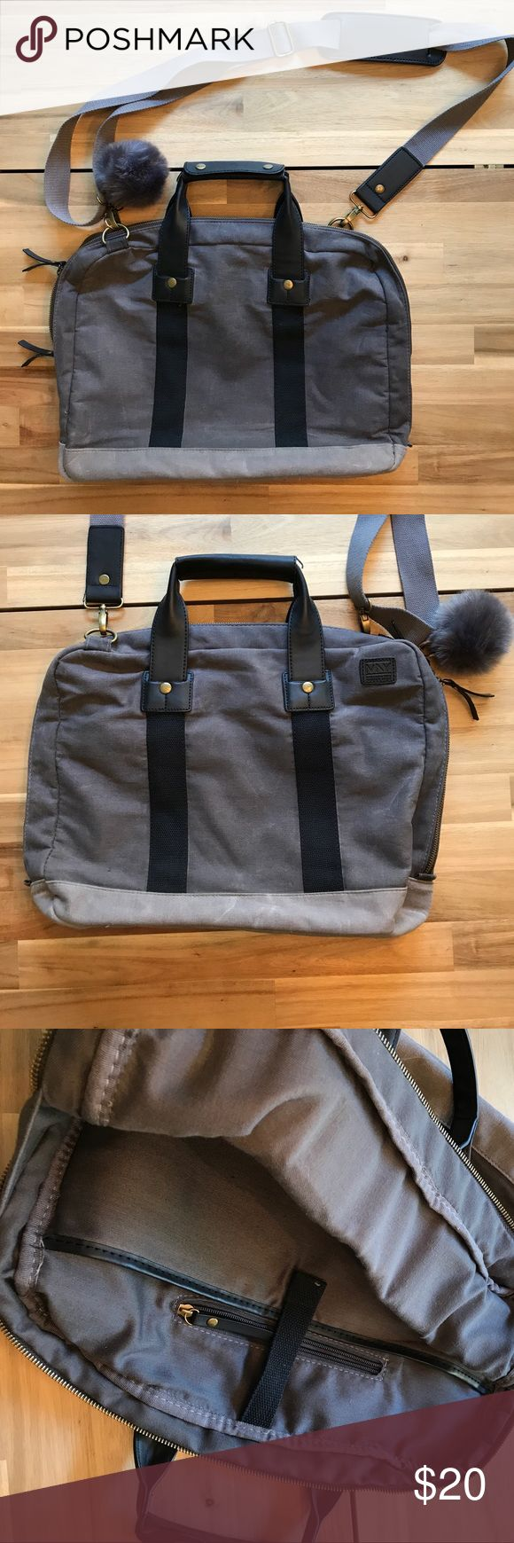 "Marc New York Canvas Commuter Bag Great bag for your commute to and from work! Gently used zippered computer bag. Stylish canvas, zippered inside pocket for valuables, adjustable shoulder strap, snap handles, inside pocket that fits up tp 15"" macbook perfectly, and main compartment for magazines, notebooks, and more. Check pics closely, natural bumps and bruises since canvas. Free pompom! Bags Laptop Bags"