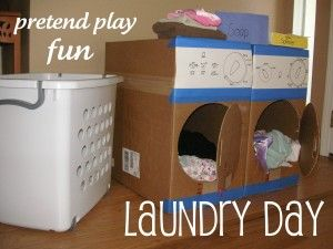 Dramatic Play-Laundry Day...love the washer and dryer made from cardboard boxes.
