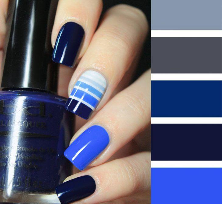 Diseños de uñas tonos puedes combinarlas azul negro gris blanco