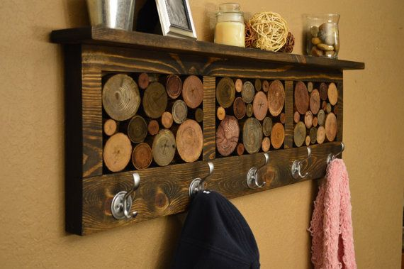 Rustic Reclaimed Wood Coat Hat Rack with Shelf and log slices on Etsy, $179.00