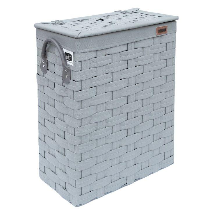19.95 + free delivery Ehc SlimLine Laundry Linen Basket Bin Bathroom Storage Hamper Basket With Lid: Amazon.co.uk: Kitchen & Home