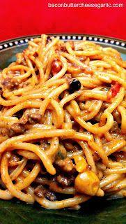Southwestern Spaghetti...ground beef, corn, Velveeta, black beans, and some peppers.  Darn tasty!