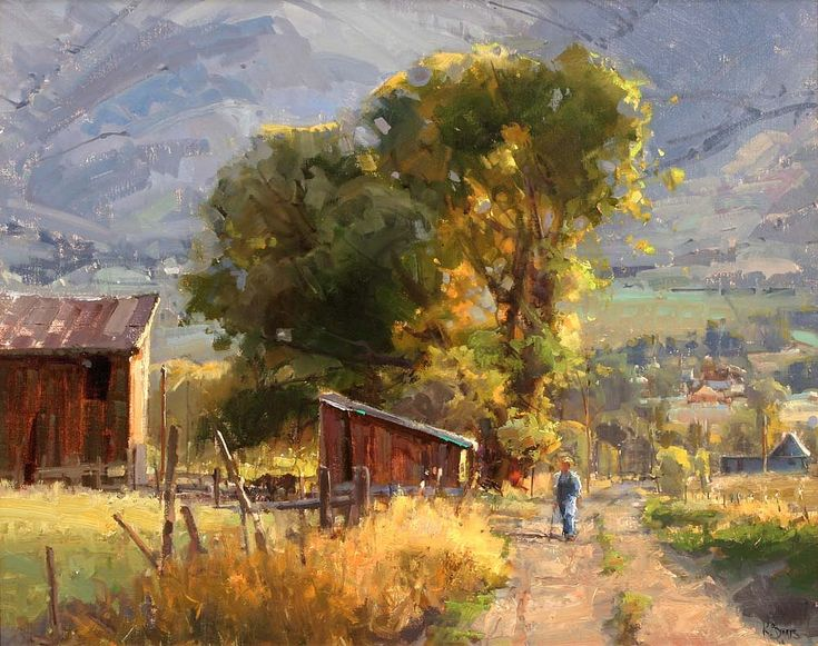 """Countryside"" By Kathryn Stats, from Salt Lake City, Utah, US - oil on canvas; 24 x 30 in - http://www.kathrynstats.com/ © Sold through Greenhouse Gallery of Fine Art, San Antonio, Texas, US http://www.greenhousegallery.com/"