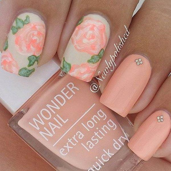 Peachy Matte Flower Nail Design.