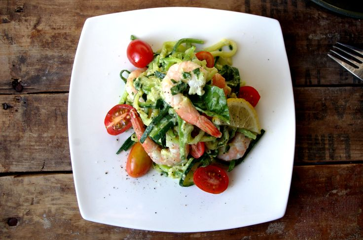 Zucchini 'Pasta' with Prawns & 'Creamy' Avocado Basil Sauce (GF and sans the prawns for a vegan dish!)