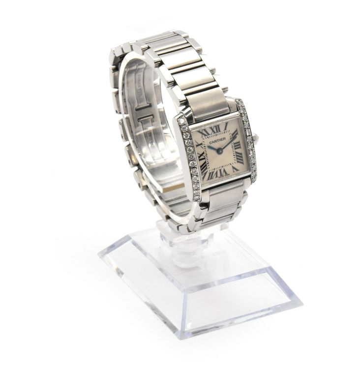 Ladies Stainless Steel & Diamond Cartier Tank Francaise Watch 2384