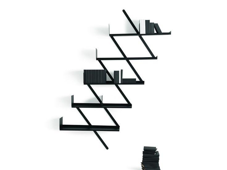 Wall-mounted steel bookcase BOOXX   MINIBOOXX by Desalto | design Denis Santachiara
