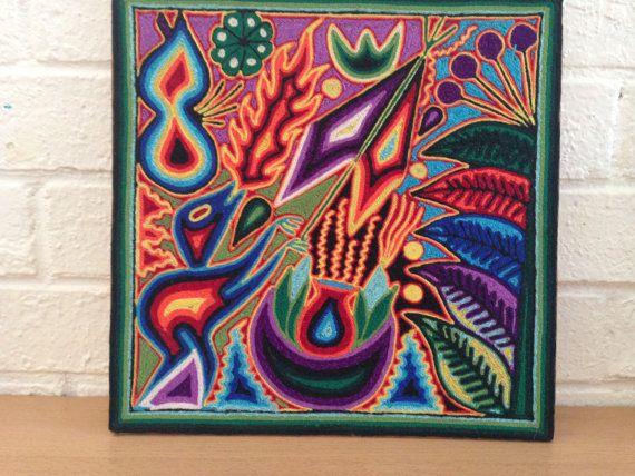 Handmade Mexican Huichol Yarn Painting Religious by OjoDeVenado