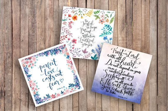 Trust, Hope & Love - Pack of Luxury Square Cards - Card Sets - Encouraging Cards - Christian Card Sets - Christian Cards - Modern Faith Card