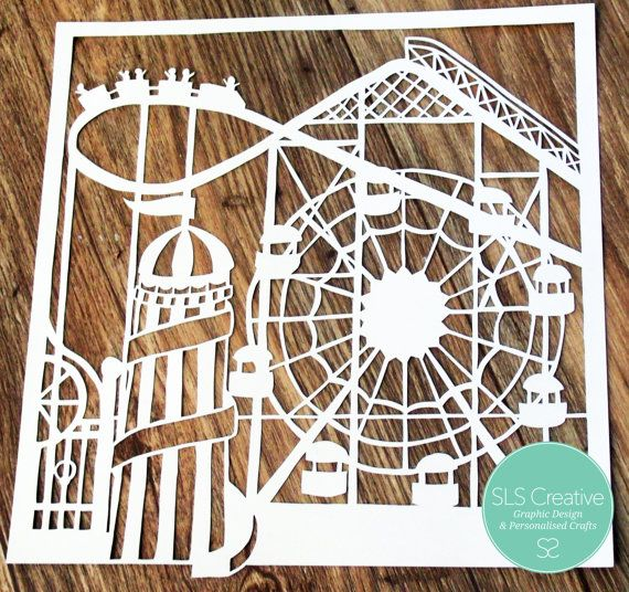 All the fun of the fair! - Summer Fairground, Ferris Wheel & Helter Skelter paper cut template DIGITAL DOWNLOAD -