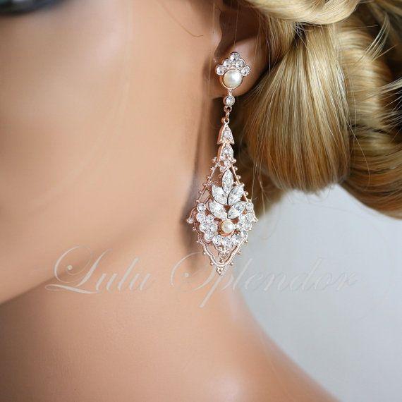 97 best rose gold images on pinterest rose gold dillards and drop crystal chandelier earrings rose gold earrings by lulusplendor 9500 aloadofball Gallery
