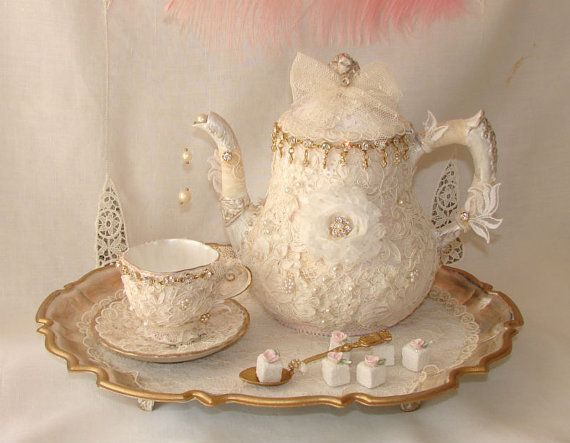 Vintage Tea Set Opulent Victorian Marie Antoinette by treasured2