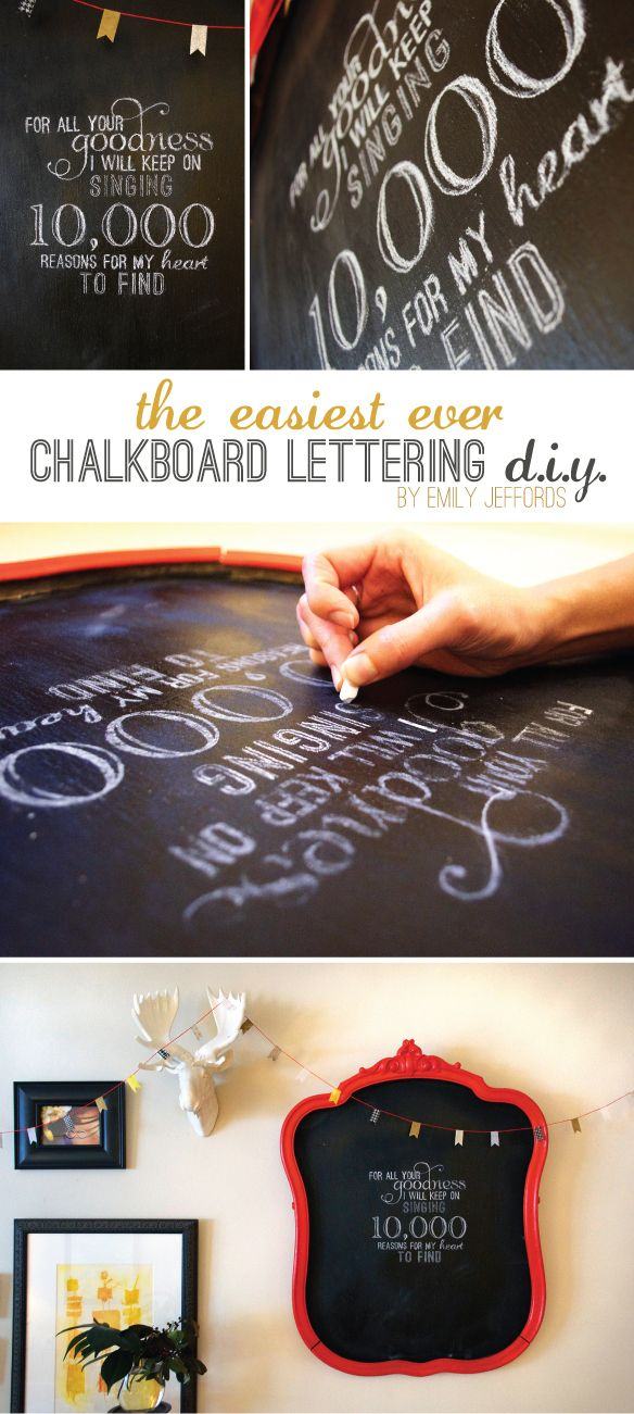 Easy Chalkboard Lettering. will be doing this once we get the gorgeous chalkboard in the kitchen! can't wait. hopefully my kiddie will be satisfied playing there while i cook ^_^