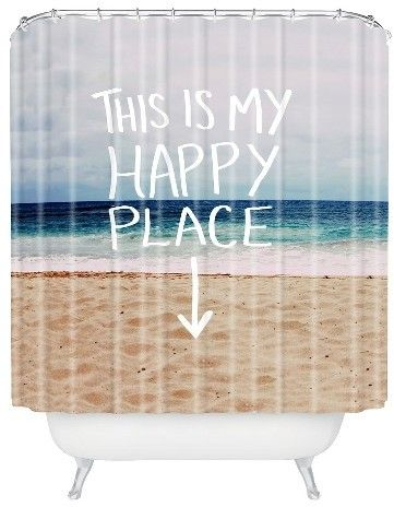 Deny Designs Happy Place Beach Shower Curtain Blue
