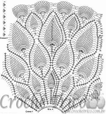 Crochê Tricô - Gráficos: Vestido Lindíssimo em Crochê Amarelo Diagrama 1-   /  Knitting Crochet - Graphics: Lindíssimo Dress Yellow Crochet Diagram 1-