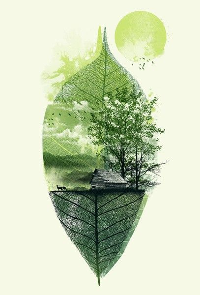 Just for inspiration - love this image, home, tree, farm painted / printed on a skeleton leaf