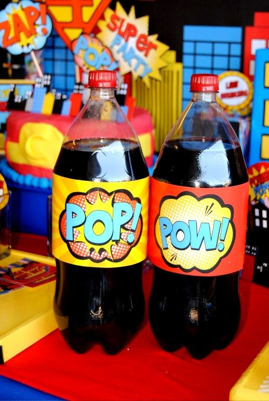 SUPERHERO Birthday Party - Pop BOTTLE Labels- Super Hero party- Superheroes Birthday- Super Hero Party Printables- Comic- INSTANT Download $2.00