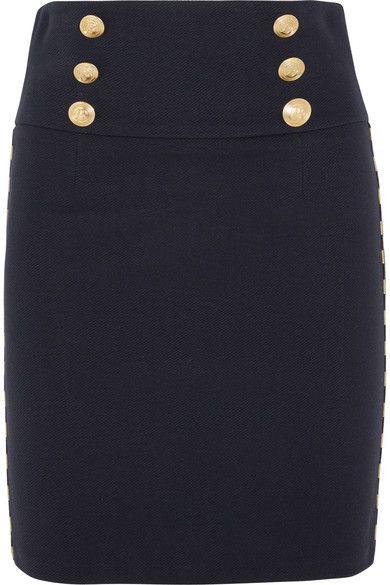 Pierre Balmain - Chain-embellished Cotton-blend Twill Mini Skirt - Navy