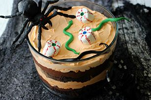 Like most trifles, this Halloween dessert is easy to make and serves a crowd. Unlike other trifles, this one is served with eye-ball marshmallows.