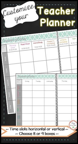 Teacher Plan Book: Editable Weekly Lesson Plan Templates ~ This planner is formatted like a book. It is designed to be either bound or placed in a binder. I have provided 2 different organizational options to choose from. In the first version, the days are listed horizontally. In the second version, the days are listed vertically. Choose the style you are most accustom to. This resource has everything you need without pages and pages of non-essential filler!  The backgrounds/boxes are…