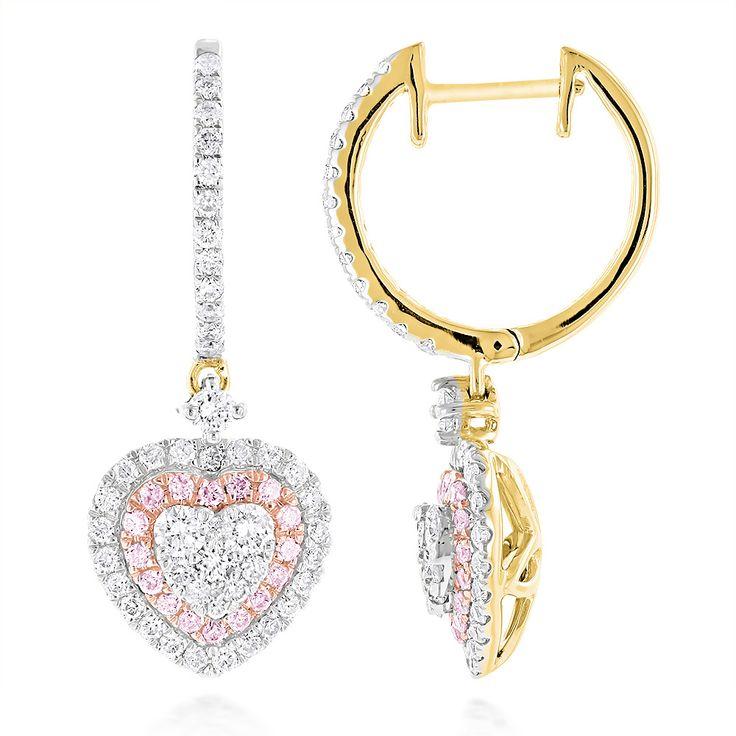 Diamantschmuck in Herzform zum Valentinstag verschenken.  Diese Gelbgold Diamantohrringe in Herzform sind mit 1.65 Karat Diamanten besetzt.  Diamantohrringe vom Juwelier Abt in Dortmund.  #valentinstag #diamanschmuck #herz #juwelier #abt #dortmund #diamanten gold #diamantohrringe