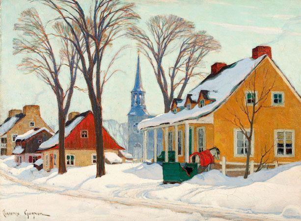 Clarence Gagnon, Matinée d'hiver à Baie-Saint-Paul, entre 1926 et 1934. Huile sur toile. Coll. : MNBAQ