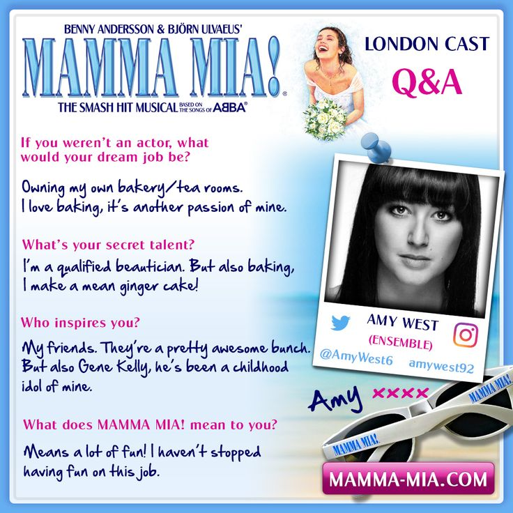 #MeetTheCast, we say hello to Amy West part of our f-ABBA-lous 2016/17 ensemble.  MAMMA MIA! London INFO/TICKETS: www.mamma-mia.com  #MammaMiaMusical #MammaMiaLondon