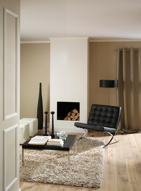 Warme sfeer in de woonkamer. Hoogpolig vloerkleed, designstoel, haard.