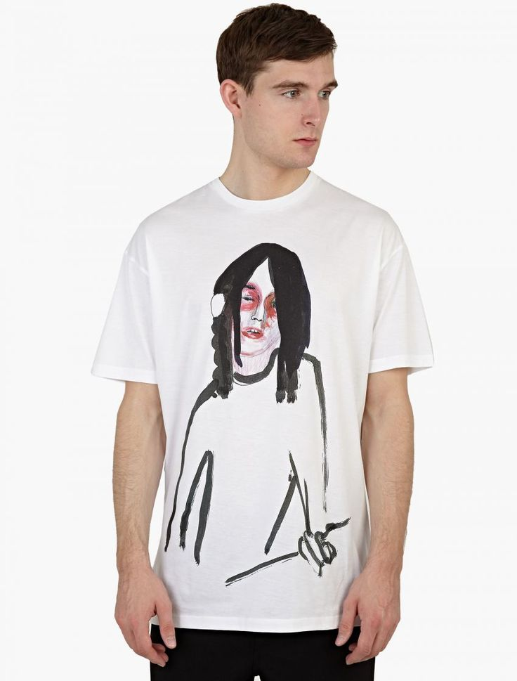 Raf Simons,Oversized T-Shirt With Guitar Boy Print,WHITE,0